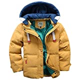 (チーアン)Tiann 子ども ダウンジャケット ダウンコート 中綿コート キッズ 防寒 フード付き アウター 男の子 冬 ボーイズ イエロー