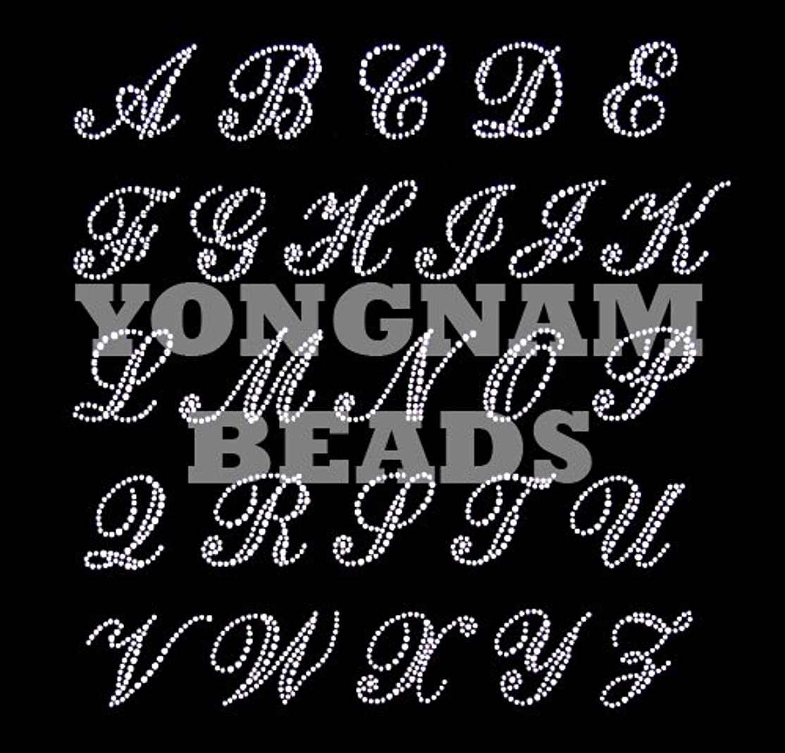 モーション禁じるしばしば【アルファベット】 ラインストーンモチーフ 【Y】 アイロン接着可 ロゴに最適 やや大きめのSサイズ ご希望の文字を色選択よりお選びください。