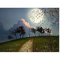 月明かりの秋のダイヤモンド塗装Diy風景5Dキットフルドリル家の壁の装飾ギフト刺繍ラインストーンペーストクロスステッチモザイク、40x50cm