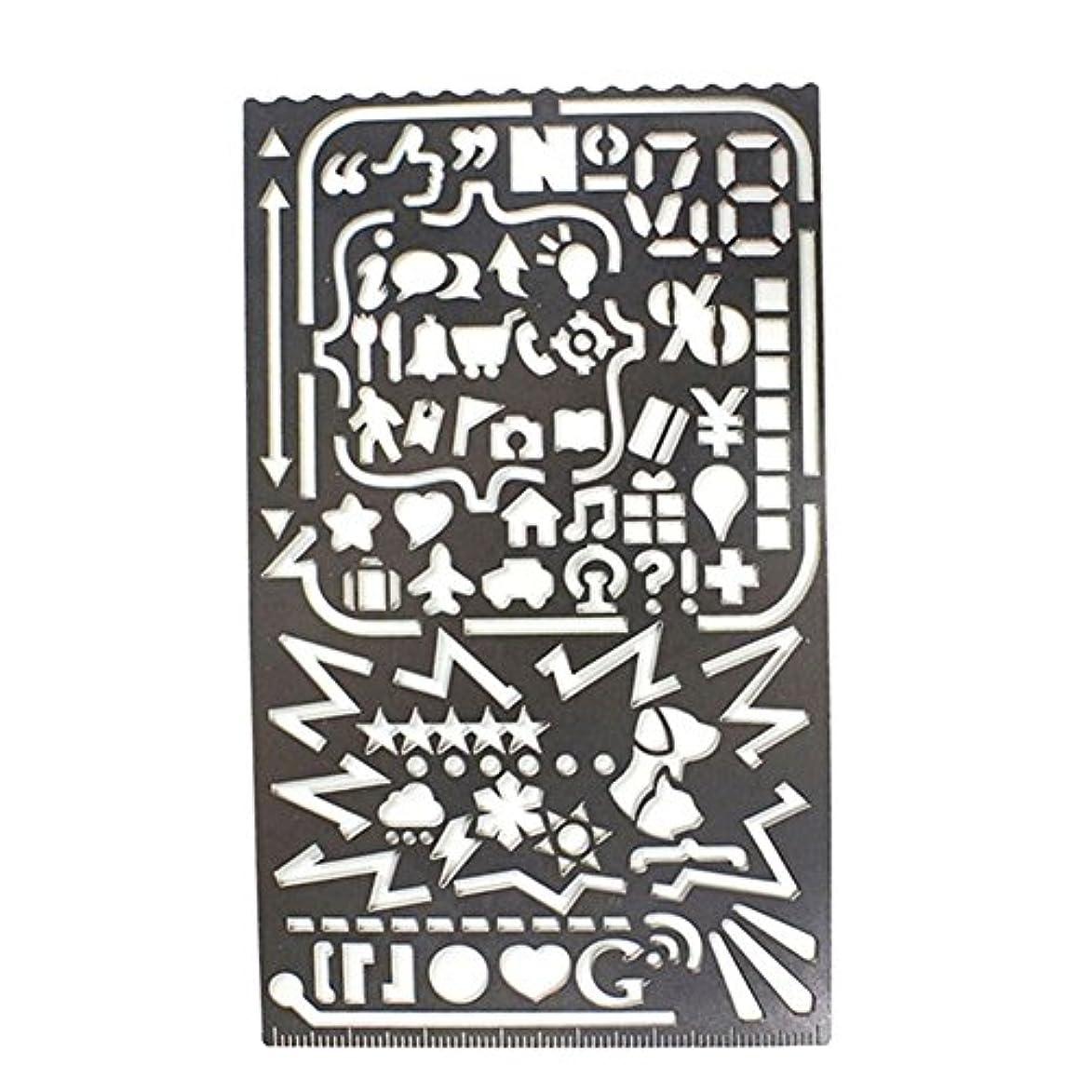 選ぶ媒染剤反射Umora テンプレート 定規 ステンレス製 アルファベット 全数字 面白い デザイン 手帳用
