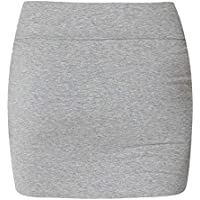 Janisramone Womens Ladies Waisted Plain Jersey Summer Bodycon Tube Office Pencil Short Mini Skirt