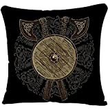 YGGQF Throw Pillow Covers Case Black Odin Viking Design Crossed Battle Axes and Shield of with The Scandinavian Runes Ancient