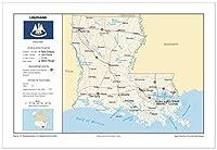 13x 19ルイジアナ一般的な参照壁マップ–アンカーマップUSA Foundationalシリーズ–都市、道路、物理、機能、地形[ Rolled ]