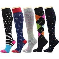 5 Pairs Dr. Motion Therapeutic Graduated 8-15mmHg Compression Women's Knee-hi Socks