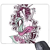 日本文化日本スタイル水墨画Sexy Geisha KimonoファンSakura Samurai Sword hand-decorated Illustrationパターン長方形ノンスリップゴムマウスパッドゲームマウスパッド