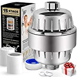 YOMYM High Performance 15 Stage Universal Shower Filter, Reduces Dry Itching on Skin, Dandruff, Eczema and Dramatically Improves The Condition of Your Skin, Hair and Nails (15 Stages)