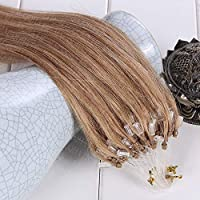 FidgetGear 100S 16-26Inch 100%Remy Human Hair Extensions Loop Micro Ring Beads #27濃い金髪