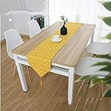 QY ダイニングルーム/党/休日の装飾のためのまともな小道具流行の古典的な綿および麻布のテーブルランナー (Color : Yellow, Size : 200x28cm)