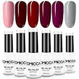 TOMICCA Gel Nail Polish Set 6 Colors, Soak Off UV LED Gel Nail Art Gel Polish Kit