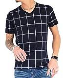 ジョーカーセレクト(JOKER Select) Tシャツ メンズ 半袖Tシャツ Vネック ボーダー ウィンドペン チェック カットソー M ネイビー/ホワイト(チェック)