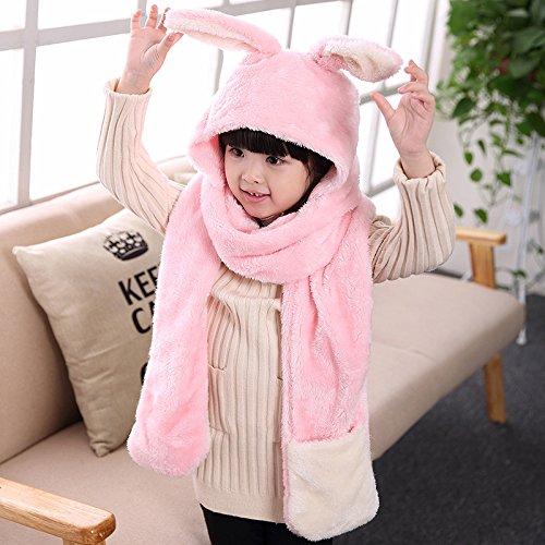 子供用 ウサギデザイン かわいい 多機能 帽子 マフラー 手袋 耳覆い機能 スカーフ グローブ ふわふわ 防寒対策 キッズ 女の子対応 ワンピース (ピンク1)