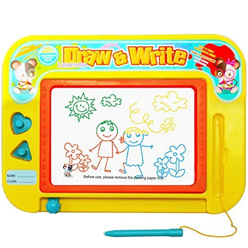 Magnetic Drawing Board - Toys with 2 Stamps for 4 Year Old Boys and Girls,Small Magna Doodle Games,Mini Colour Sketch Writing Pad Gift for Kids & Children - Travel Size 28cm x 22cm
