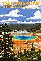 (9 x 12 Art Print) - Yellowstone National Park, Wyoming - Grand Prismatic Spring - Lantern Press Artwork