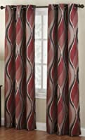 No. 918 Intersect Wave Print Casual Textured Curtain Panel 48 x 84 Paprika Red 【Creative Arts】 [並行輸入品]