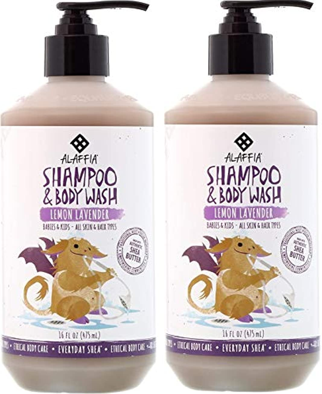 脅迫ミキサー暗黙【2個セット】Alaffia Everyday Shea Shampoo & Body Wash Lemon Lavender for Babies and Kids 475ml