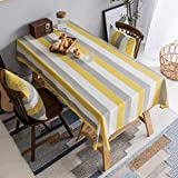 Home Brilliant Yellow Tablecloth Striped Farmhouse Colorful Table Covers For Party Kitchen Indoor Outdoor, 52X72 Inch, Yellow White Grey