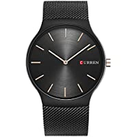New Mens Watches Stainless Steel Black Band Quartz Watch Top Brand CURREN Male Wristwatch