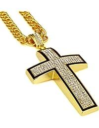 lomolメンズJesusクロスHiphop Golden合金クリスタルネックレスコスチュームジュエリークリスマスプレゼント