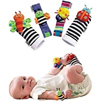 USport 4 Pcs/Set Cute Creative Soft Wrist Rattles Hands Socks For Infant Toy