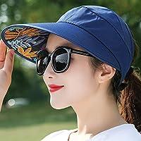 Xiang Feng Shop 太陽の帽子 - 新しい広い女性の夏のビーチサン帽子真珠の折り畳み式のサンバイザー帽子広いつばの広いつばUV保護女性キャップのつば 夏の旅行用品 (色 : B)