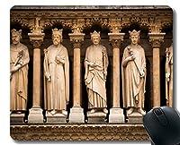 ゲーミングマウスマット、ノートルダム寺院教会教会フランス像魂継続マウスパッドステッチボーダー