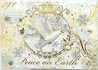 Punch Studio # 14961クリスマスHolidayグリーティングカード、Peace on EarthホワイトDove、ボックスの15