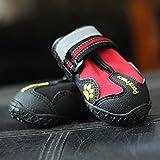 Lucaso ペット用靴 防水ドックシューズ 足首調節可 滑り止め 防寒 肉球保護 散歩 アウトドア 小型 中型 大型 前後4足セット (5号)