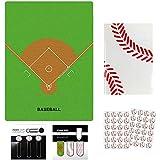 PIANS野球下敷き+野球ノート(A6サイズ)ミシン綴じタイプ1冊+インデックスクリップ+アートクリップ+シール2枚セットプライム