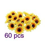 Yiteng 造花 ひまわり造花 枯れない花 人工花  飾りつけ  ディスプレイ ハンドメイド  かわいい  ひまわり  たっぷり 装飾  高品質  人工観葉植物 美しい 60個セット 4cm