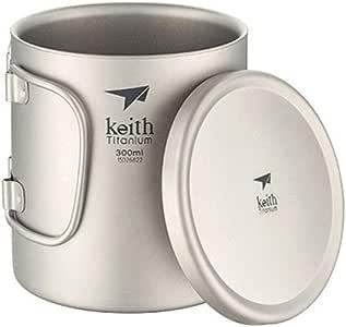 keith 蓋と折りたたみハンドル付きダブルレイヤーチタンカップキャンプ用断熱カップ(Ti3352)
