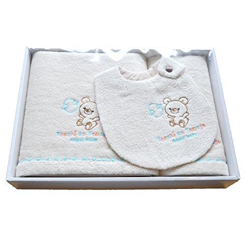 【Tenshi no Tamago】 天使の卵 今治 オーガニックコットン バスタオル セット エンジェルベビー ベビーギフト 出産祝い (ABSET002)