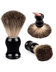 QSHAVE 100%最高級アナグマ毛オリジナルハンドメイドシェービングブラシ。高品質樹脂ハンドル。ウェットシェービング、安全カミソリ、両刃カミソリに最適