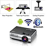 Mini Portable LED Home Theater Bluetooth Wireless HDMI Projector Smart LCD Android Wifi Video Projector HDMI USB VGA Audio Airplay Miracast Apps for Smartphone iPad Phone DVD XBOX PS4 Movie Games