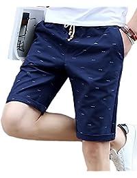 [meryueru(メリュエル)] フィッシュボーン プリント ハーフ チノ パンツ オシャレ 五分丈 ファッション メンズ