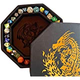 """Fantasydice-Chromatic Dragon -with Roll or Die Artwork Dice Tray - 8"""" Octagon with Lid and Dice Staging Area- Holds 5 Sets of Dice(7 / Standard) for All Tabletop RPGs Like D&D , Call of Cthulhu"""