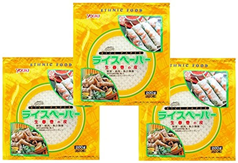ひいきにする粘着性汚れるユウキ食品 ライスペーパー(生春巻きの皮)  200g×3袋