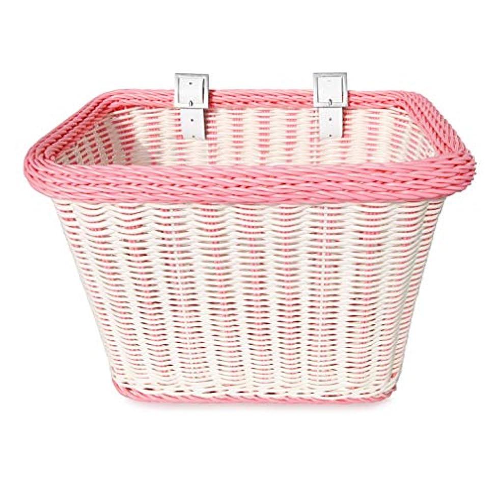 土後方にコンテストColorbasket 00689 Adult Front Handlebar Rectangle Bike Basket, White with Pink Trim by Colorbasket