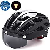 Adult Bike Helmet for Men Women with Safety Red Led Back Light/Detachable Magnetic Goggles Visor Cycling Mountain & Road Bicycle Helmets Adjustable Size