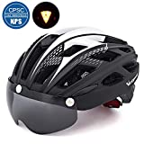 自転車 ヘルメット, VICTGOAL大人男女兼用 で磁気ゴーグルバ 超軽量 高剛性 サイクリング ロードバイク クロスバイク スポーツ 通気 サイズ調整可能 (新しい黑)