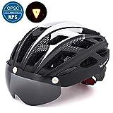 VICTGOAL 自転車 ヘルメット 大人用 LEDライト付きサイクルヘルメット 磁気ゴーグル 防虫ネット ロードバイクヘルメット 超軽量 高剛性 サイクリングヘルメット サイズ調整可能 男女兼用 自転車ヘルメット 57-61cm (新しい黑)