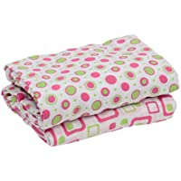 juDanzy 100% Cotton Muslin Swaddle Blankets Set of 2 Large 45X45 Baby Girl or Boy (Hot Pink & Lime) by juDanzy