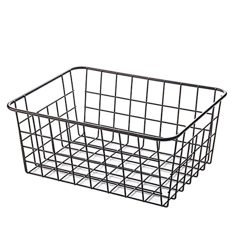 収納バスケット YIFAN 家庭用 キッチン ベッドルーム 雑貨収納 アイロン製 アート-ブラック