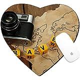 Luxladyマウスパッドハート型マウスパッド/マットイメージデザインID : 40812991レトロカメラon World map with Word旅行on木製テーブル背景
