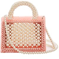 BOKPLD Womens Weave Crystal Pearl Tote Bags Beaded Handbags Crossbody Bag