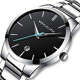 [メガリス]MEGALITH 腕時計 時計メンズ ステンレススチール防水ウオッチ アナログクオーツ腕時計ブラック 日付表示 ラグジュアリーおしゃれ ビジネス カジュアル メタル男性腕時計 シルバー