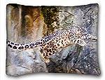 Decorative標準枕ケース動物Leopard Profile Spotted言語Stolen Dry Wood 20