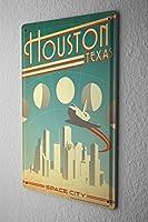 Tin Sign ブリキ看板 Deco City Houston Texas Space City skyline aircraft