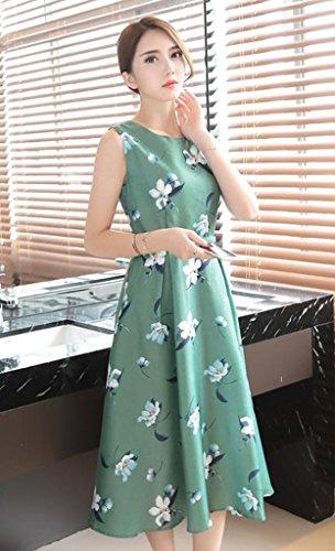 Ehame レディース ワンピース 花柄 フレア ノースリーブ 上質 ベルト 付き ロング ドレス Aライン トップス ファッション かわいい グリーンM