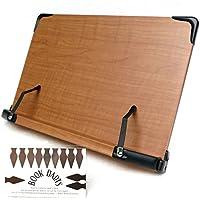 見やすい角度に14段階調節 木製ブックスタンド 標準サイズ(35×24cm) 折りたたみ式 書見台 タブレット台 (メーカー直輸入品)<ブックダーツおまけ付き>