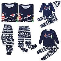Weixinbuy Women Men Kids Baby Pajamas Set Letter Printed Crewneck Christmas Sleepwear Pjs Set for Family Matching Clothes
